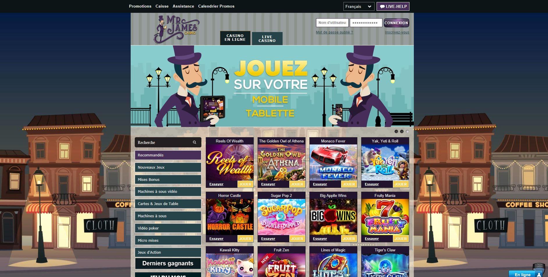 Mr James casino avis : que penser de ce casino en ligne ?