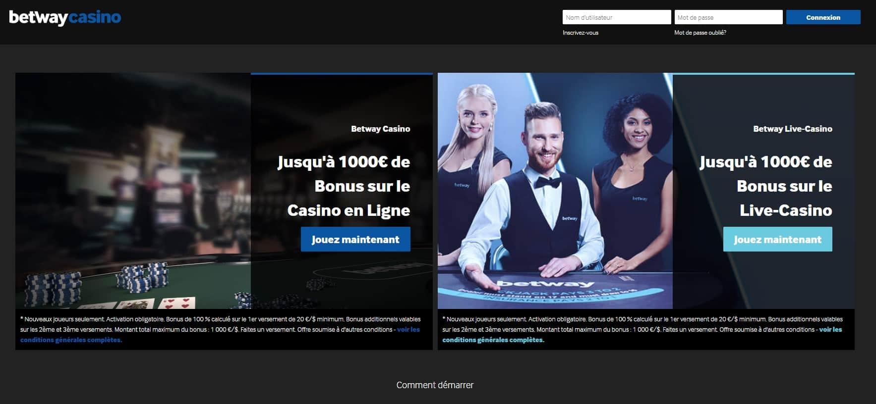 Betway Casino avis : offre de bienvenue très alléchante de 1000 CAD !